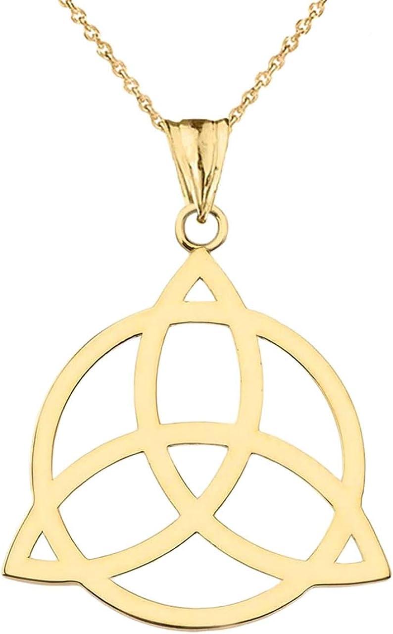 Elegant 14k Gold Celtic Trinity Knot Circle of Life Silhouette Pendant Necklace