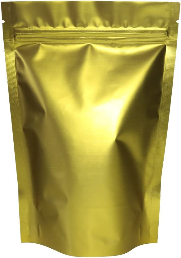 """100PCS Matte Double-Sided Colored Stand-Up 3oz Bags (12x18cm (4.7x7.1""""), Gold)"""