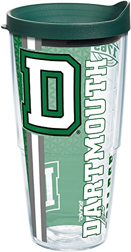 Tervis 1226187 Dartmouth Big Green College Pride Tumbler with Wrap and Hunter Green Lid 24oz, Clear