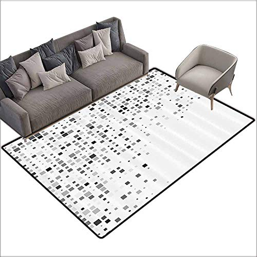 Floor Mat for Toilet Non Slip Grey Decor,Digital Pattern Composed of Geometric Elements Radiant Rectangle Parallel Picture,Ash White 80