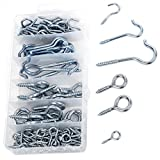 124 Pieces Home Depot Set Silver Zinc Plated Eye Bolt Assortment and Hooks for Hanging
