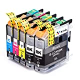 K-Ink Brother LC203 LC 203XL LC201 Compatible Replacement Ink Cartridges (5 Pack - 2 Black, 1 Cyan, 1 Magenta, 1 Yellow)