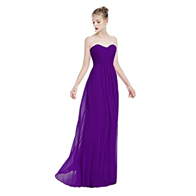 40fdc12cc2a FYMNSI Damen Elegant Brautjungfer Hochzeit Kleid Herzform Trägerloses  Chiffon Lange Abendkleider Ballkleid Cocktailkleid A-Linie