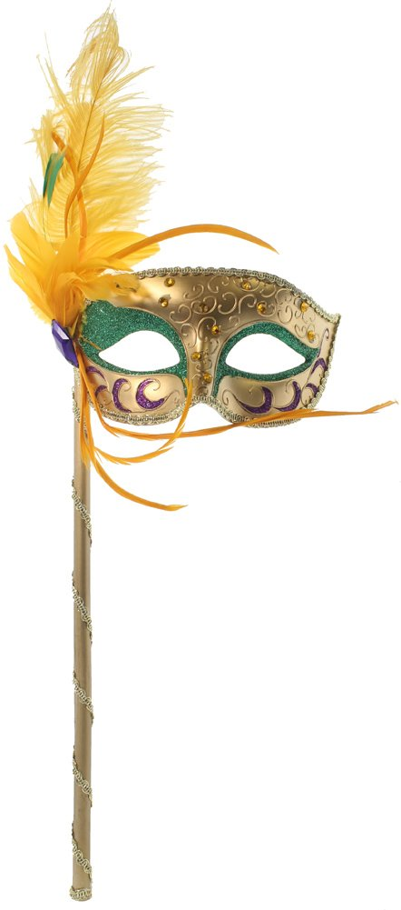 RedSkyTrader Womens Mardi Gras Stick Mask with Feathers One Size Fits Most Gold