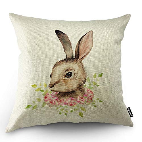 Moslion Bunny Pillows Decorative Pillow Case Sketch of Cute Animal Rabbit with Pink Rose Flowers Green Leaves for Easter Throw Pillow Cover Square Cushion Accent Cotton Linen Home 18x18 Inch - Animal Rose