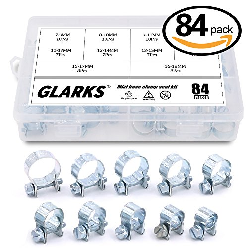 Glarks 84Pcs 10 Size Mini Fuel Injection Style Hose Clamp Assortment Kit For Diesel Petrol Pipe
