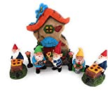 SunRidge Gnomes for Fairy Garden Accessories Bundle of 8 Pieces, Including House, Gnomes and Light post