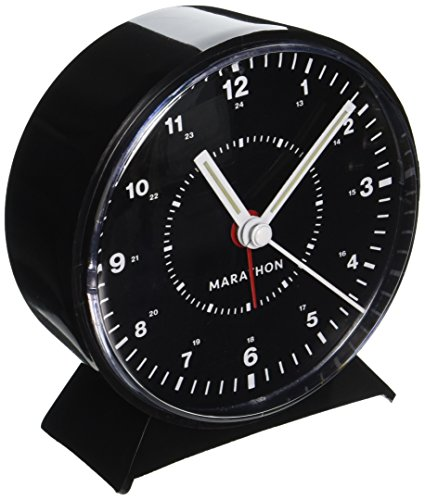 Marathon CL034001BK Mechanical Wind-Up Alarm Clock - Black - LOUD ALARM- Easy to set loud and clear alarm with progressive interval ring WIND-UP - No electricity or batteriers are required LIGHT- Luminescent marking on hands for easy reading in dim environments. - clocks, bedroom-decor, bedroom - 51jVhDe FsL -