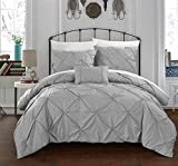 Chic Home 4 Piece Daya Pinch Pleated, Ruffled & Pleated Complete Duvet Cover Set Shams & Decorative Pillows Included, King, Silver