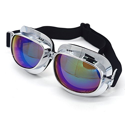 Evomosa Motorcycle Goggles Retro Vintage Motocross Off-Road ATV Pilot Goggle Eyewear Sports Glasses Snowboard Ski Bikes Helmet Goggles (Silver, Blue) by Evomosa (Image #4)
