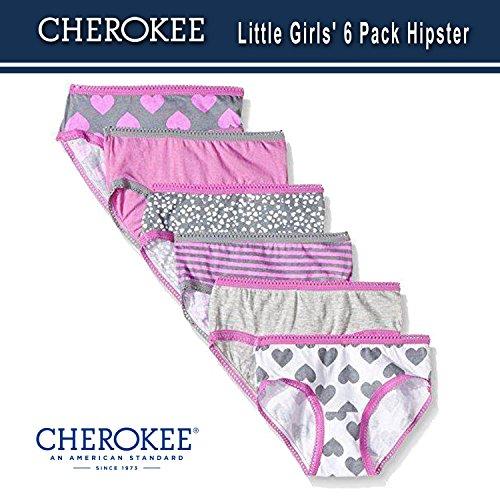 Cherokee Little Girls 6 Pack Hipster, Pink/Heather Grey ()