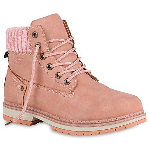Stiefelparadies Damen Worker Boots Leicht Gefütterte Outdoor Stiefeletten Flandell Rosa Amares