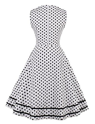 de Vintage de vestido Años Swing con nbsp;Vestido vkstar® puntos noche Rockabilly manga Weiß3 para vestido 50 corta cóctel vIqdnnH4a