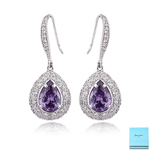 Amethyst Dangle Earrings for Women - Silver Bridal Teardrop Purple Crystal Cubic Zirconia Rhinestone Drop Earrings for Wedding Party Prom Fashion Jewelry for Bride Bridesmaid (Crystal Purple Blue)