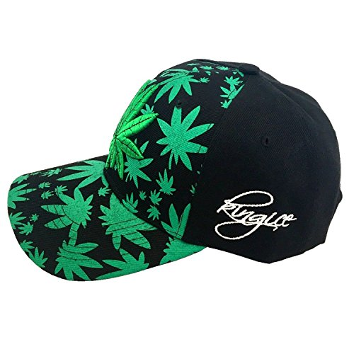 unisex Baseball de Ice plana plantas de Gorra de marihuana diseño Leaf visera King con con wqW7fU168