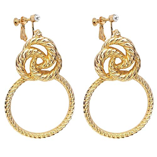 Fashion Clip on Earrings for Girls Women Screw Back Clips Celtic Knot Round Circle Dangle Gold Plated