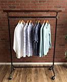 Industrial Pipe Rolling Clothing Rack with Cedar Wood Top Shelving by William Robert's Vintage