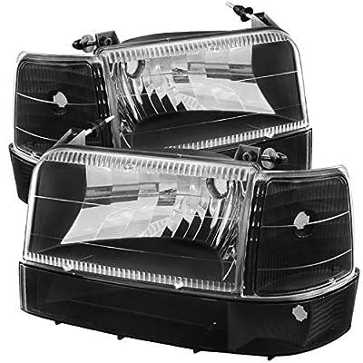 Carpartsinnovate For 92-96 F150/250/350 Bronco Black Clear Lens Head Lights+Bumper+Corner Lamps: Automotive