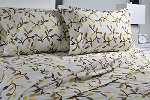 Highland Collection Printed 300 Thread Count Cotton Rich sheet Set Almond Leaves Twin size,
