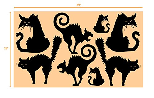 (Halloween Scary Cat Party Decorations Wall Decal Sticker Window Decor Scary Removable Cats (Matte)