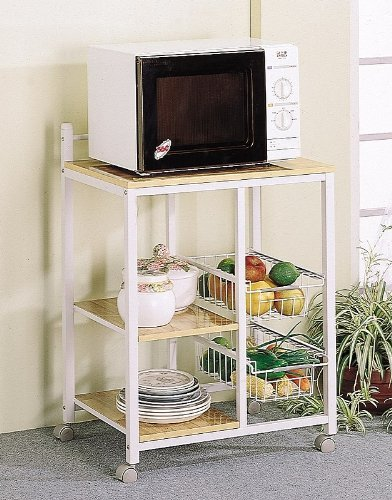 Natural Finish Microwave Cart - 3