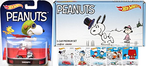 Peanuts Holiday Hot Wheels Christmas Box Set Charlie Brown Snoopy & Friends Winter Scenes + Hot Wheels Flying Ace Retro character Edition Dog House Car Officially Licensed (Ford Classic Blanket)