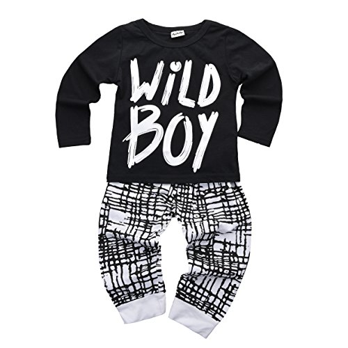 Mysticline Baby Boys Clothes Set Long Sleeve Wild Boy T-Shirt Pants Outfit Winter Spring (12-18 Months, Black)