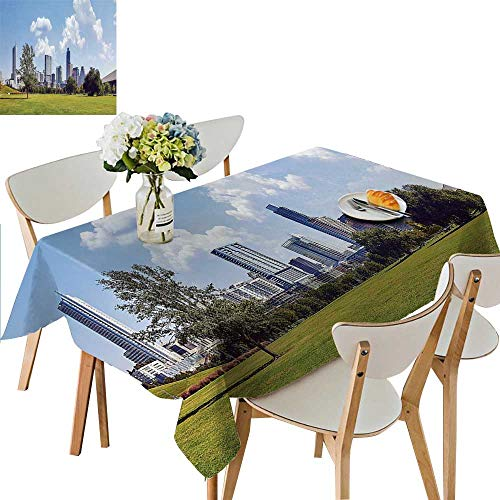 UHOO2018 Square/Rectangle Polyesters Tablecloth Modern City Wedding Party,50 x 72inch ()