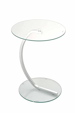 Exceptional Merlin Round Side Chrome Curved Tube Tempered Glass Occasional Table Clear