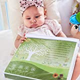 Organic Tencel Crib Mattress Protector Pad Waterproof Breathable Hypoallergenic Jacquard Fitted Soft Padded 52x28x9 inch for Baby Toddler Infant Bed