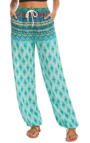 Urban CoCo Women's Floral Print Boho Yoga Pants Harem Pants Jogger Pants (#20, M)