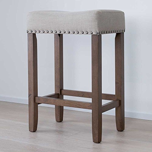 Nathan James  Hylie Nailhead Wood Counter Kitchen Bar Stool, 24″, Light Brown For Sale