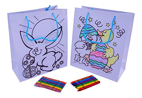 Easter Gift Bag Set with Crayons (Color Your Own Activity Bag) - Pack Of 2 - Great for Kids, Alternative to Easter Basket , Treat Bags, Party Favors and More!