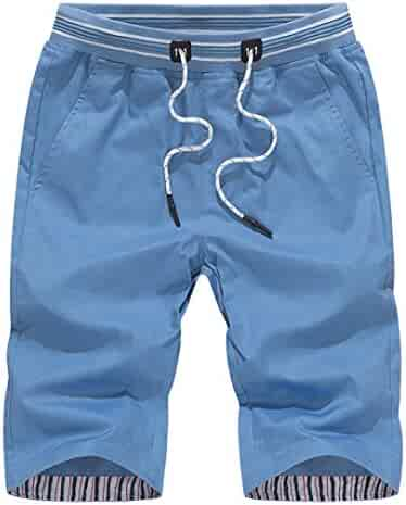 e11ee2b925 RAISINGTOP Men Shorts Quick Dry Below Knee Beach Swim Trunks Surfing  Running Swimming Capri Pants Drawstring