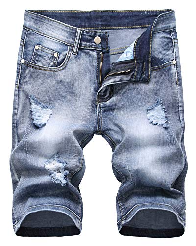 (LATUD Men's Fashion Ripped Short Jeans Casual Denim Shorts with Hole, 302-Light Blue, US 42 /Tag 42)