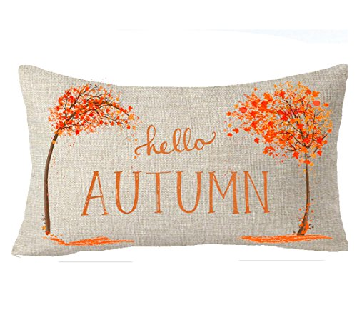 Happy autumn Fall Big tree Maple Leaf hello autumn Throw Pillow Cover Cushion Case Cotton Linen Material Decorative 12''x20''
