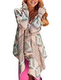 Women's Printed Open Front Drape Irregular Knit Cardigan Sweaters Coat