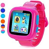 """Juego Smart Watch para niños, Kids SmartWatch, juego temporizador de visualización táctil 1.5"""" cámara podómetro 10juegos de reloj despertador Salud Monitor los niños las niñas niños relojes, Rosado"""