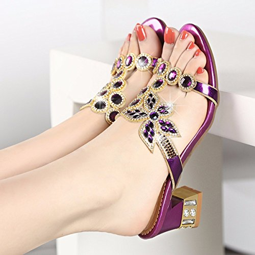Violet Cristal Con Y QPSSP Zapatos Sandalias De Diamantes Zapatilla Sandalias wH4nzqIOn