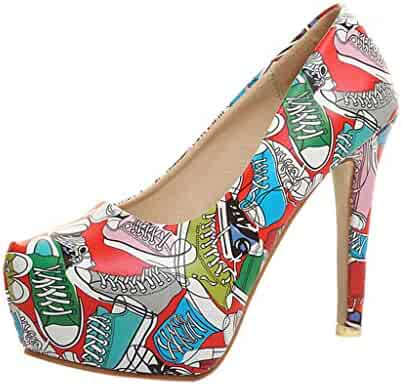 a4b9bbd54041 Memela Clearance sale Women's Dress Pumps Playforms Sandals Ladies Flower  Graffiti Super High Heels Sandals Roman