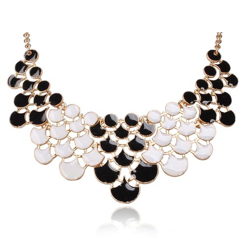 JANE STONE Fan Statement Fashion Resin Frontal Bib Clothing White&Black Necklace Popular Jewelry(Fn0968-White&Black1)