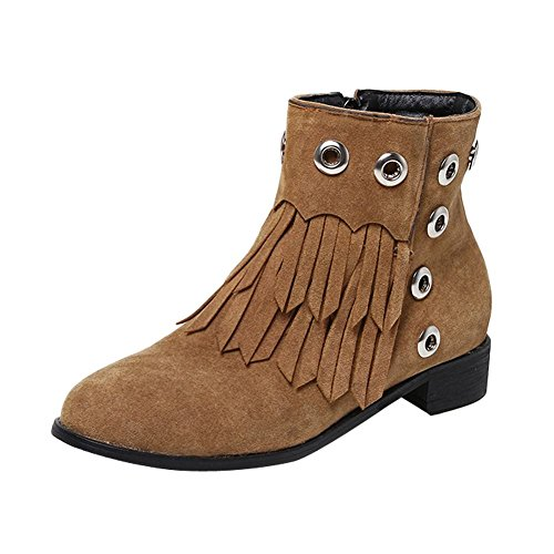 Carolbar Femme Glands Retro Vintage Talon Bas Western Bottes Courtes Marron 1f39a9c3809d