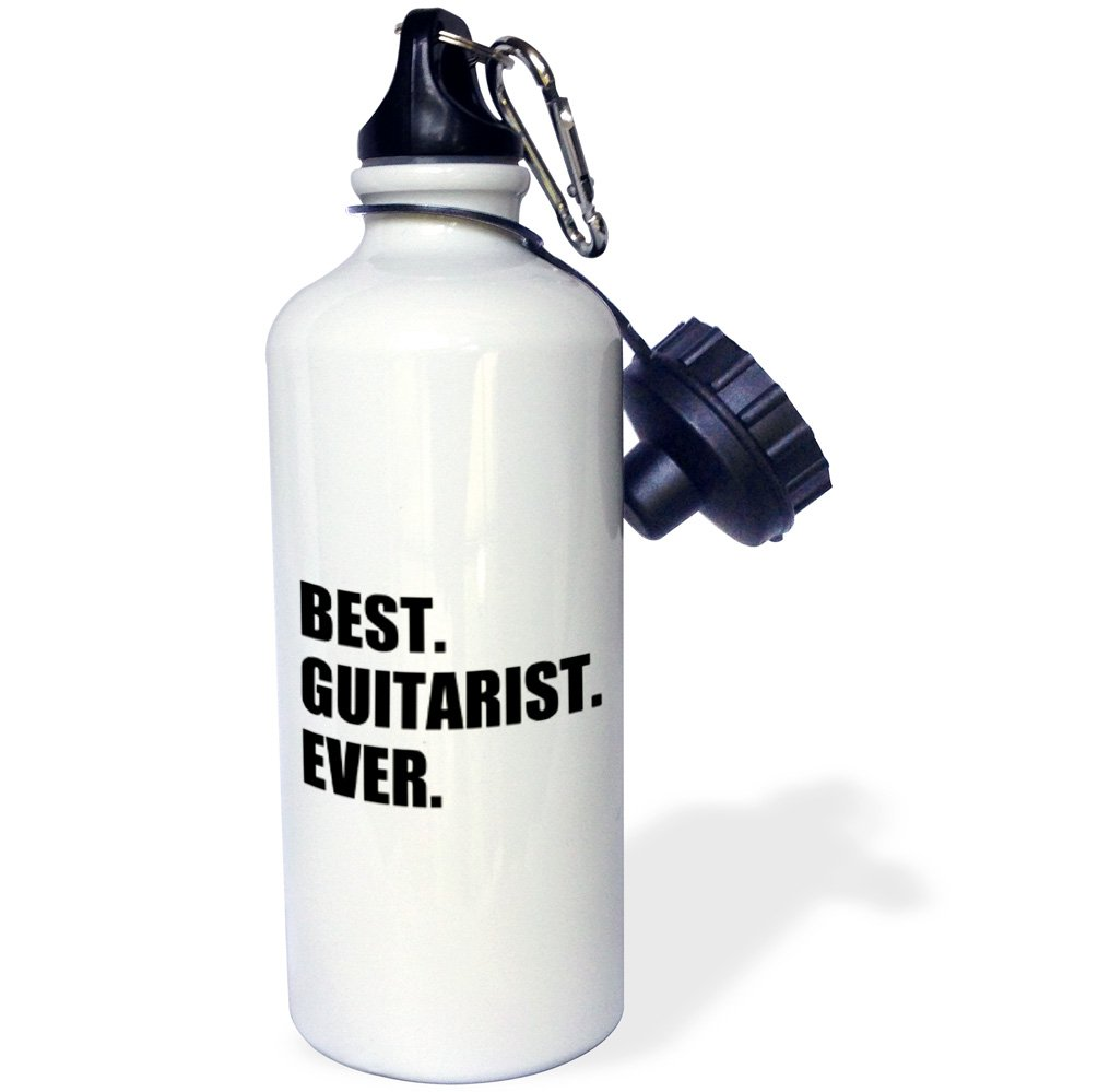 3dRose wb_185003_1 Best Guitarist Ever - Fun Gift For Talented Guitar Players, Black Text Sports Water Bottle, Multicolor, 21 oz