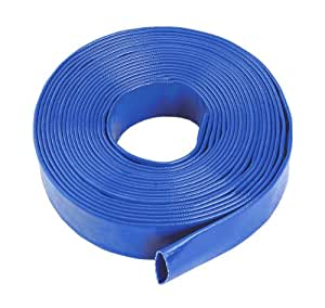"Blue Layflat Water Discharge Hose Pipe Pump Irrigation - 38mm (1 1/2"") Bore x 30 Metres Long"
