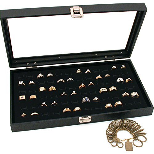 FindingKing Black Glass Top Jewelry Display 72 Ring Case Box Bonus ()