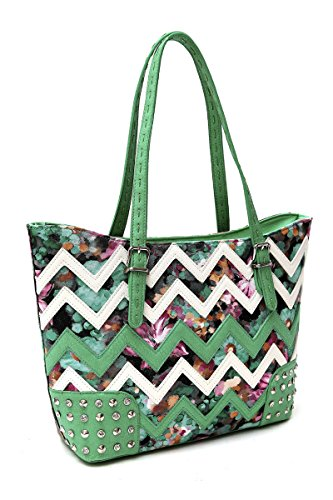 Lcolette Flower Print With Chevron Accented Top Handle Rhinestone Tote Bag Sqm84975b (sea Green)