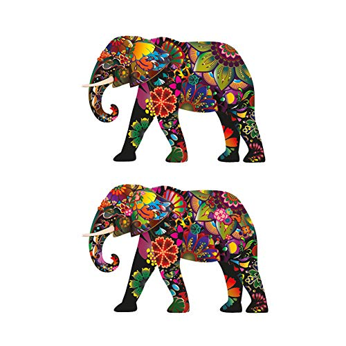 Empt Idio - Super Colorful Flower Lovely Elephant Removable Vinyl Decals Stickers Skin for Laptop, Skateboard, Window, Car, Guitar, Luggage, Motorcycle, Helmet (2 PCS,Colorful01 and Colorful02)
