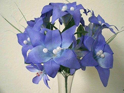 4 BLUE PURPLE Mini Tiger Lily Silk Flower Bushes w/pearls Artificial ()