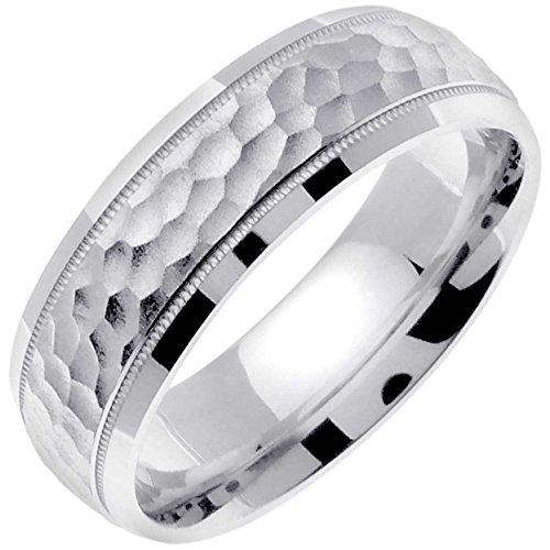 14K White Gold Top Flat Men's Hammered Finish Comfort Fit Wedding Band (7mm) Size-14c1
