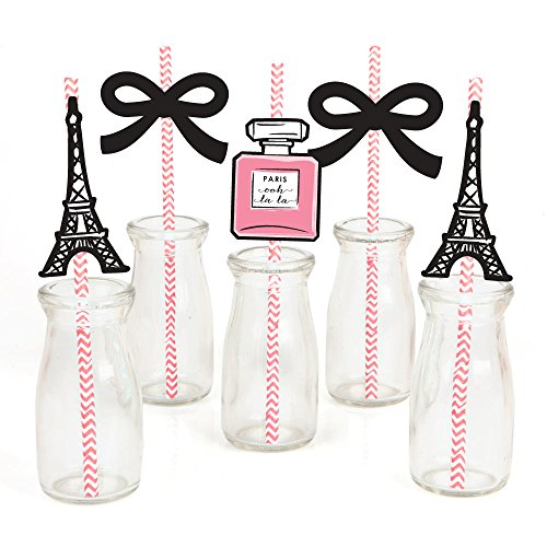 Paris, Ooh La La - Paris Themed Paper Straw Decor - Baby Shower or Birthday Party Striped Decorative Straws - Set of 24 -